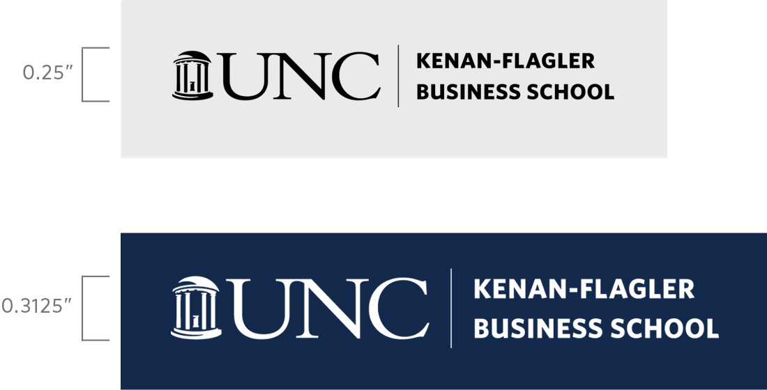 UNC Kenan-Flagler Business School logo size requirements
