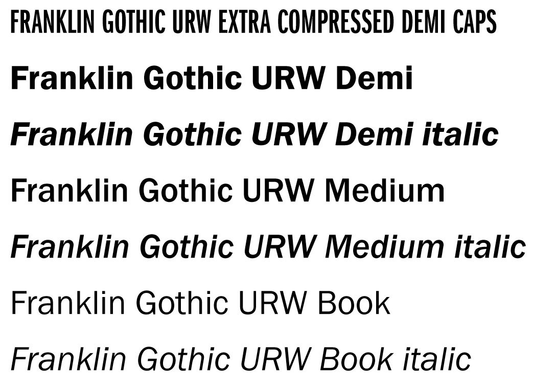 Franklin Gothic URL font examples