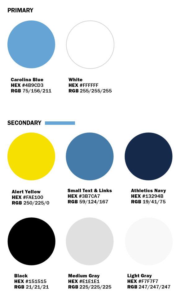 Digital color palette: Carolina Blue #4b9cd3; White #ffffff; Alert Yellow: #FAE100; Small Text/Link Blue: #3b7CA7; Navy #13294B; Black: #151515; Medium Gray #E1E1E1; Light Gray #F7F7F7