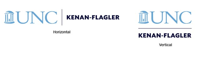 Horizontal and vertical UNC Kenan-Flagler logo examples