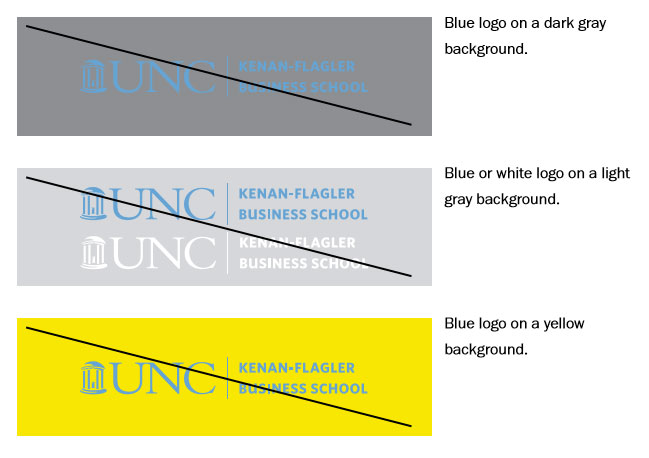 Unacceptable background contrast: Carolina blue logo on dark gray background; blue or white logo on a light gray background; blue logo on yellow background.