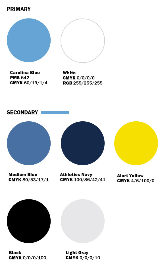 Print Color Palette: Carolina Blue PMC 542/CMYK 60/19/1/4; White CMYK 0/0/0/0; Medium Blue CMYK 80/53/17/1; Navy CMYK 100/86/42/41; Alert Yellow CMYK 4/6/100/0; Black CMYK 0/0/0/100; Light Gray CMYK 0/0/0/10