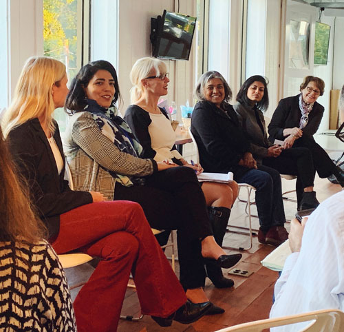 Women group panel discussing entrepreneurship