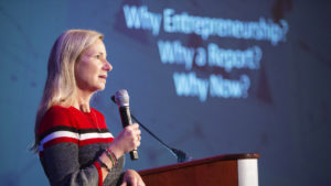Vickie Gibbs of UNC Kenan-Flagler Speaks On Stage at Frontiers of Entrepreneurship Conference 2020