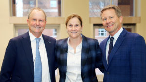Jill Ellis and Andson Dorrance and Kevin Guskiewicz Smiling at the 2020 Weatherspoon Lecture