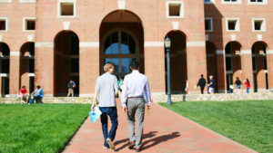 UNC Kenan-Flagler plaza view of McColl with students walking