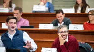 Students smile during UNC Kenan-Flagler Weekend MBA class