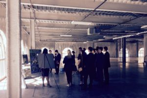 MBA Real Estate Club members view building plans on-site at Lincoln Harris' Capitol Towers office project in Charlotte.