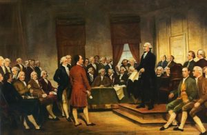 """Washington as Statesman at the Constitutional Convention"" by Junius Brutus Stearns. Image via teachingamericanhistory.org"