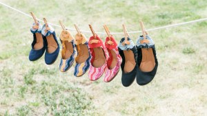 Image of shoes on a clothesline